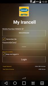 app Irancell para tarjeta sim en Iran